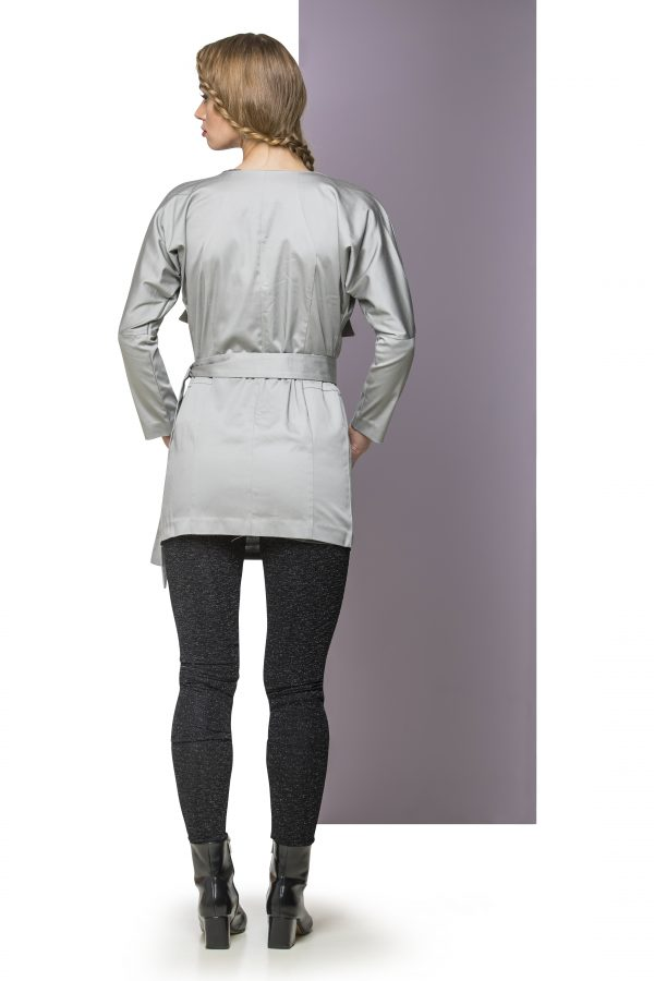 Coat Long Light Grey Back