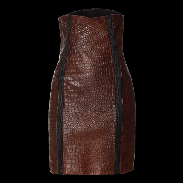 High Waist Skirt Leather Mix Front